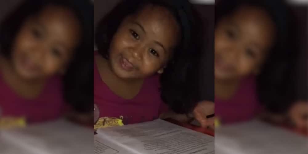 Cute kid shows high awareness as she makes side comments while reading modules