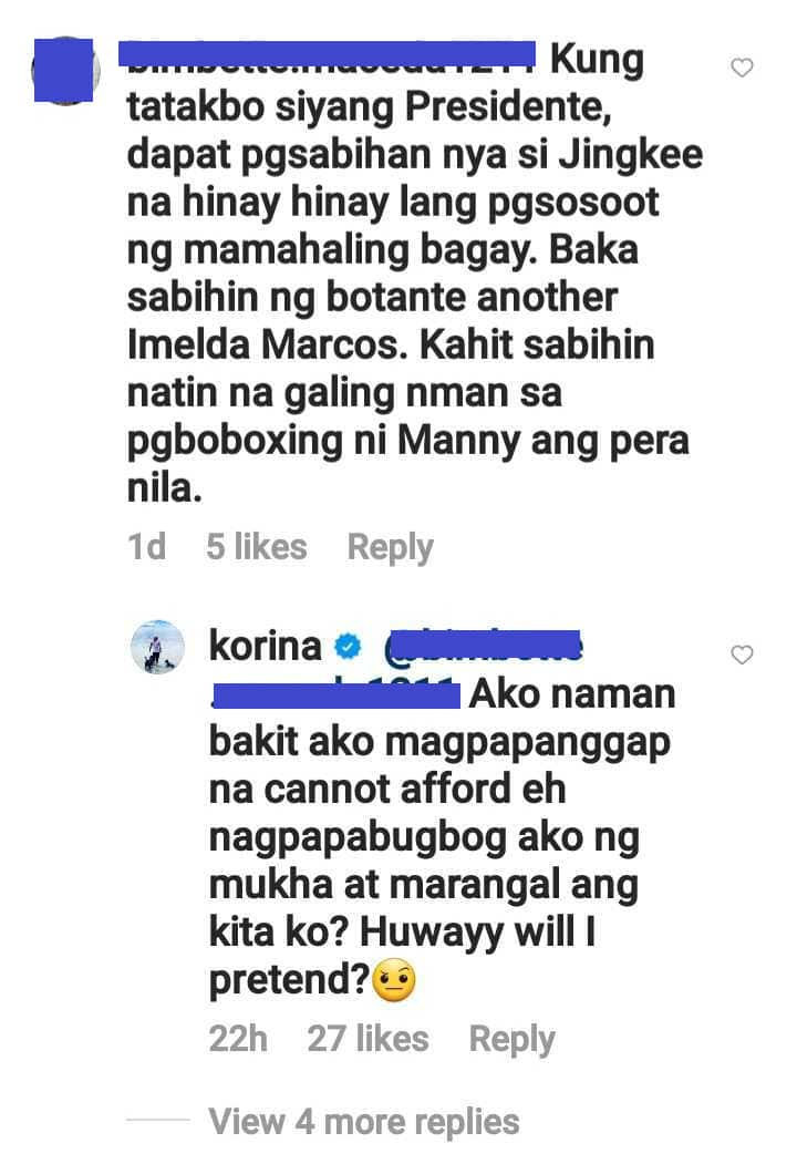 """Korina Sanchez, sinupalpal ang basher ni Jinkee Pacquiao: """"Bakit magpapanggap na cannot afford"""""""