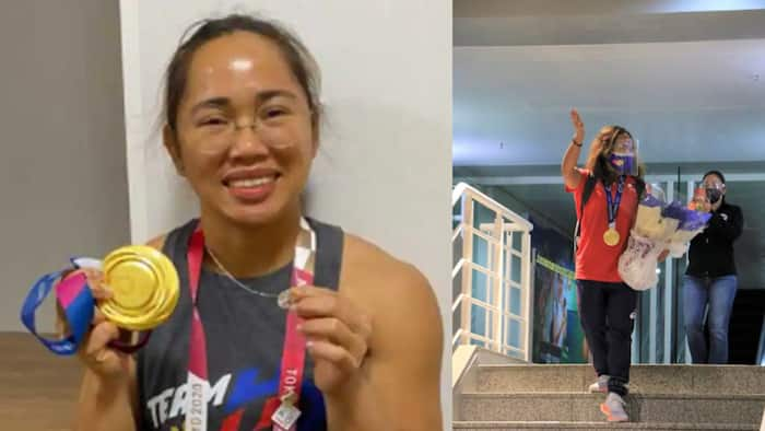 Olympic gold medalist Hidilyn Diaz now back in the Philippines; photos of her arrival go viral