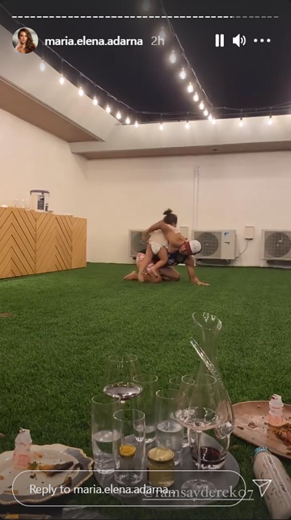 Derek Ramsay leaps over Ellen Adarna's son in a game of luksong baka