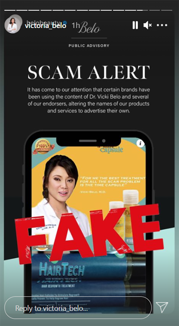 Dr. Vicki Belo warns public about brands falsely using her content and endorsers