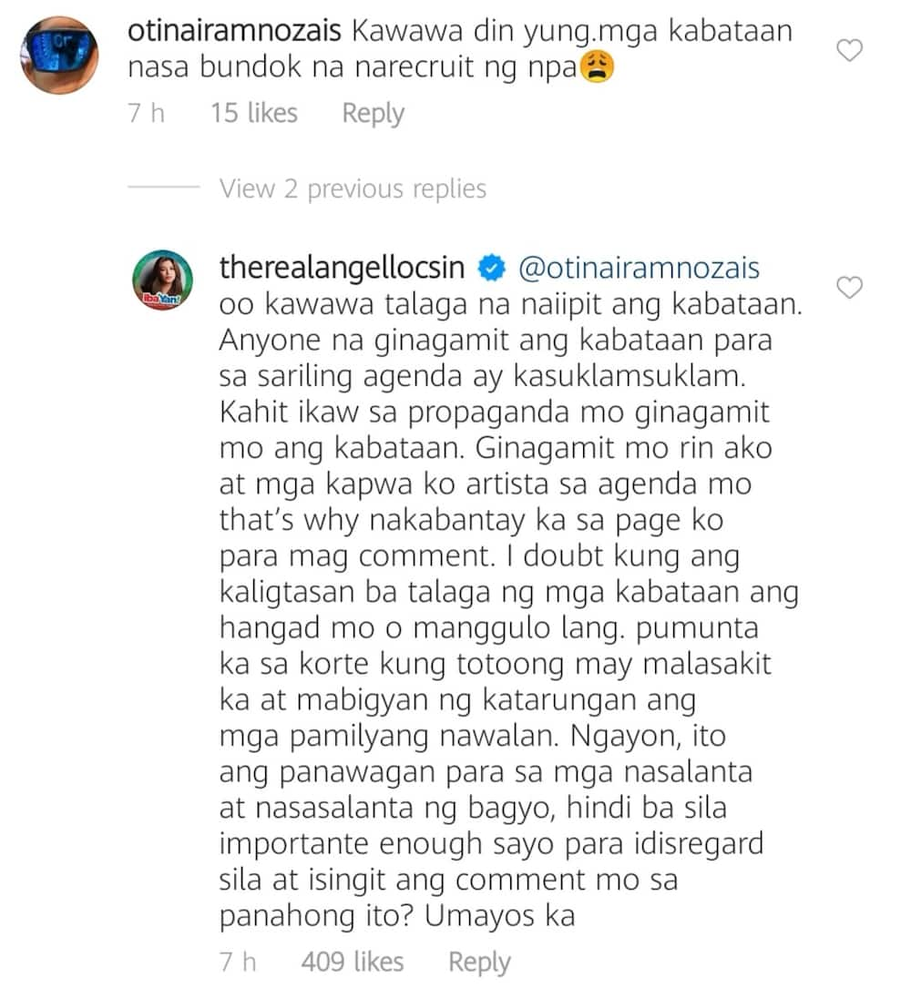 Angel Locsin slams bashers who wrote NPA-related comment on her post about typhoon