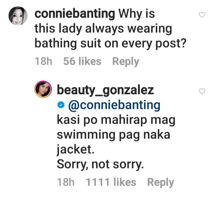 Beauty Gonzalez slammed netizen criticizing her for wearing swim suits on socmed posts