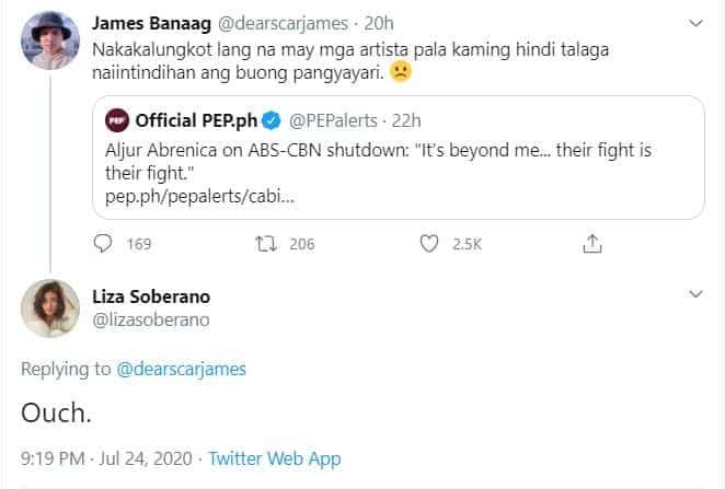 "Liza Soberano napa ""ouch"" sa pahayag ni Aljur Abrenica kaugnay sa ABS-CBN franchise"