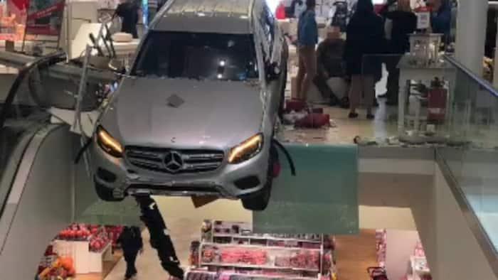 German senior citizen crashes his car into a mall's department store