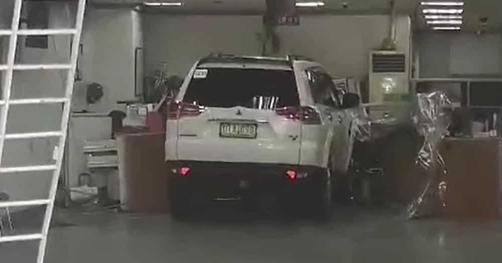 An SUV has crashed into a bank along EDSA in Quezon City