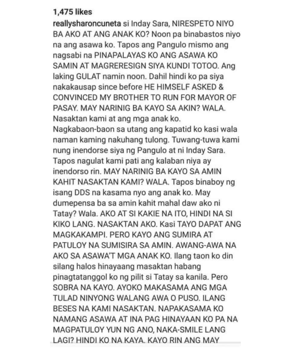 Sharon Cuneta, inilahad ang mga hinaing niya ukol kay Pangulong Duterte