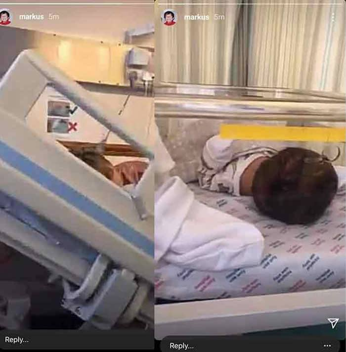 Markus Paterson posts photo of a baby and a sleeping woman at hospital