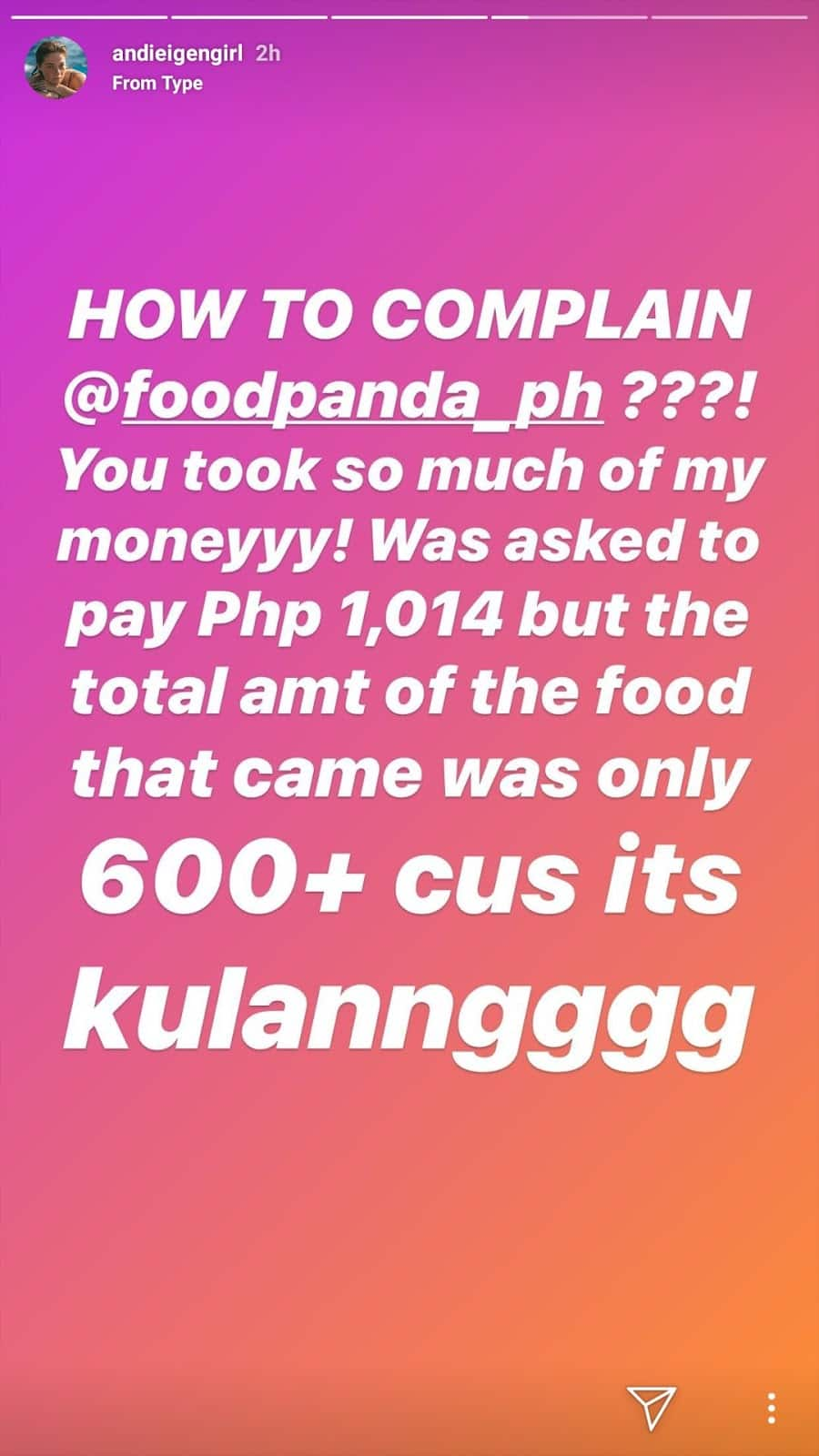 Andi Eigenmann orders for daughter but got ripped off by food delivery service