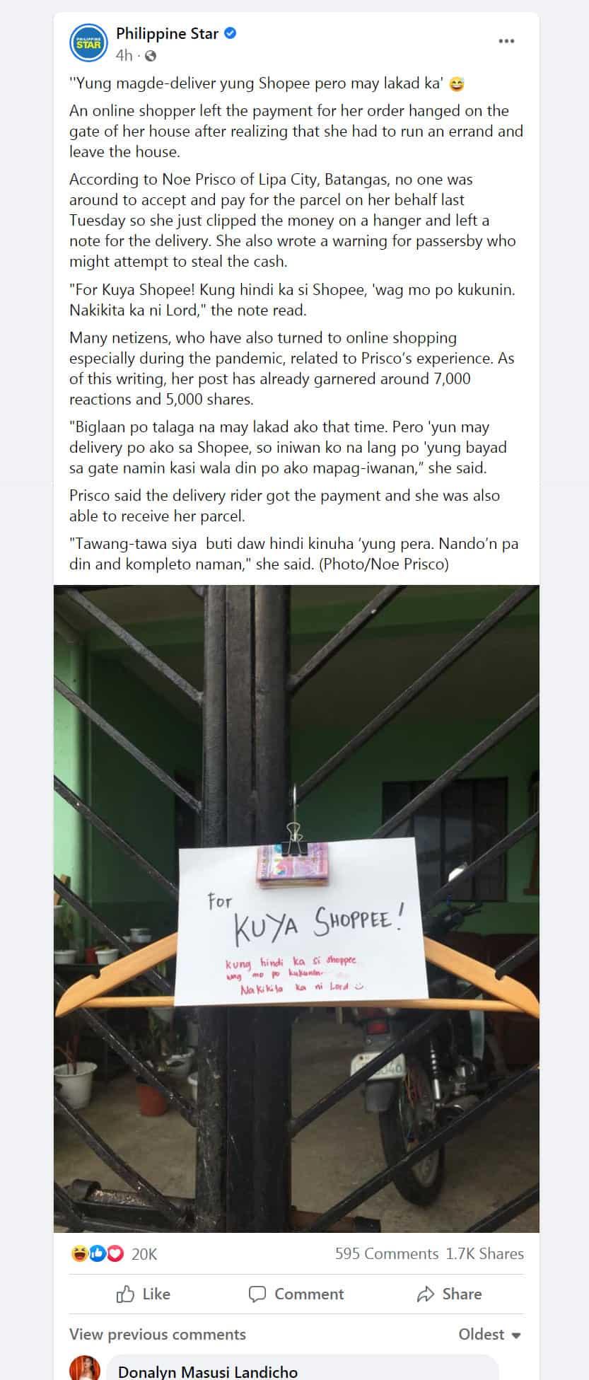 """Customer, iniwan ang perang naka-clip sa gate: """"For Kuya Shopee! Kung hindi ka si Shopee, 'wag mo po kukunin"""""""