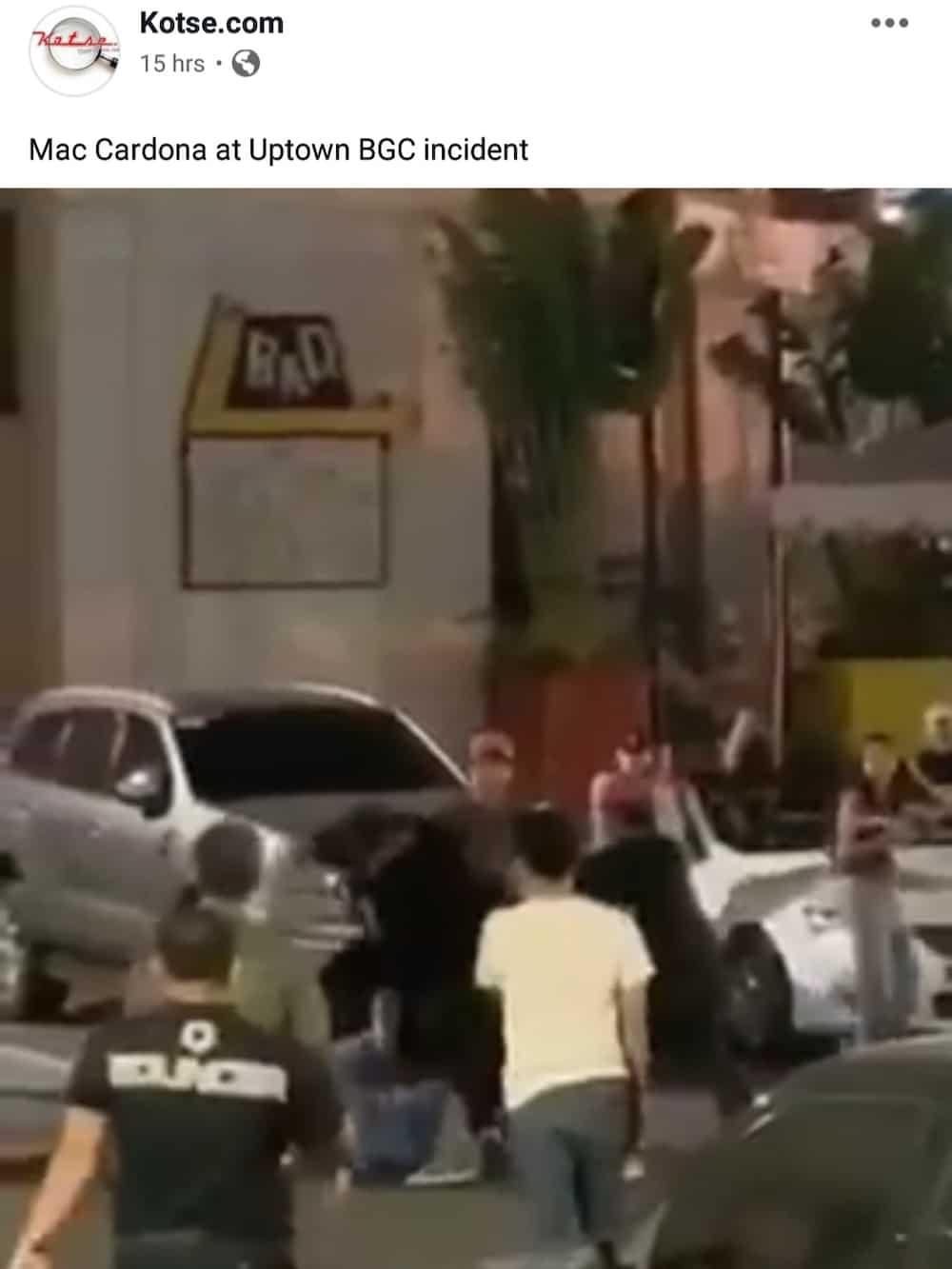 Mac Cardona gets into fight outside a club in Bonifacio Global City