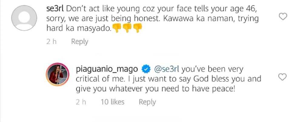 Pia Guanio shuts down basher instructing her to stop acting like she's young