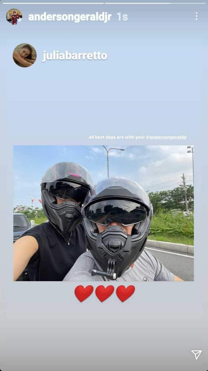 Gerald Anderson goes on a motorcycle ride with Julia Barretto