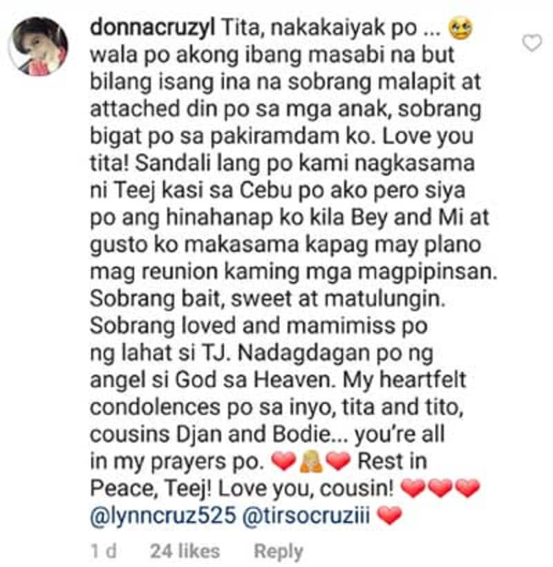 Rodjun, Geneva, and Donna Cruz express their grief towards cousin Teejay Cruz' death