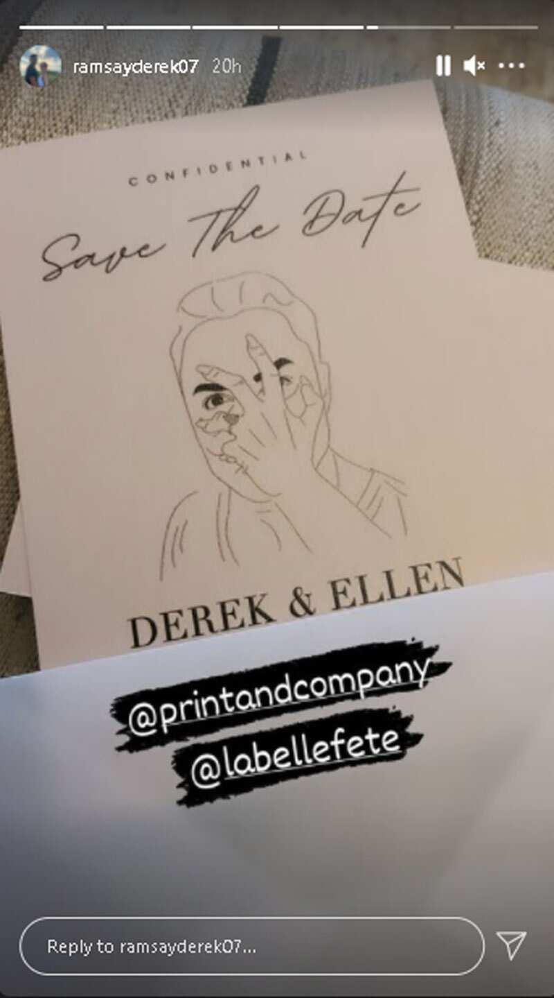 """Derek Ramsay, pinost ang pic ng animo'y invitation card na may nakasulat """"confidential"""" at """"save the date"""""""