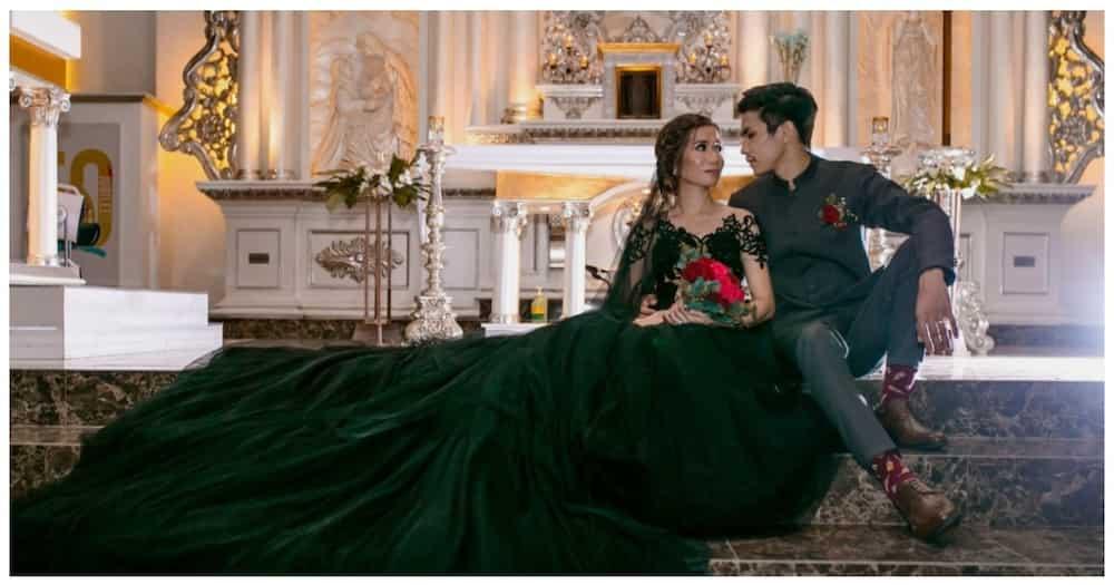 Black wedding gown ng bride, nagpa-wow sa maraming netizens