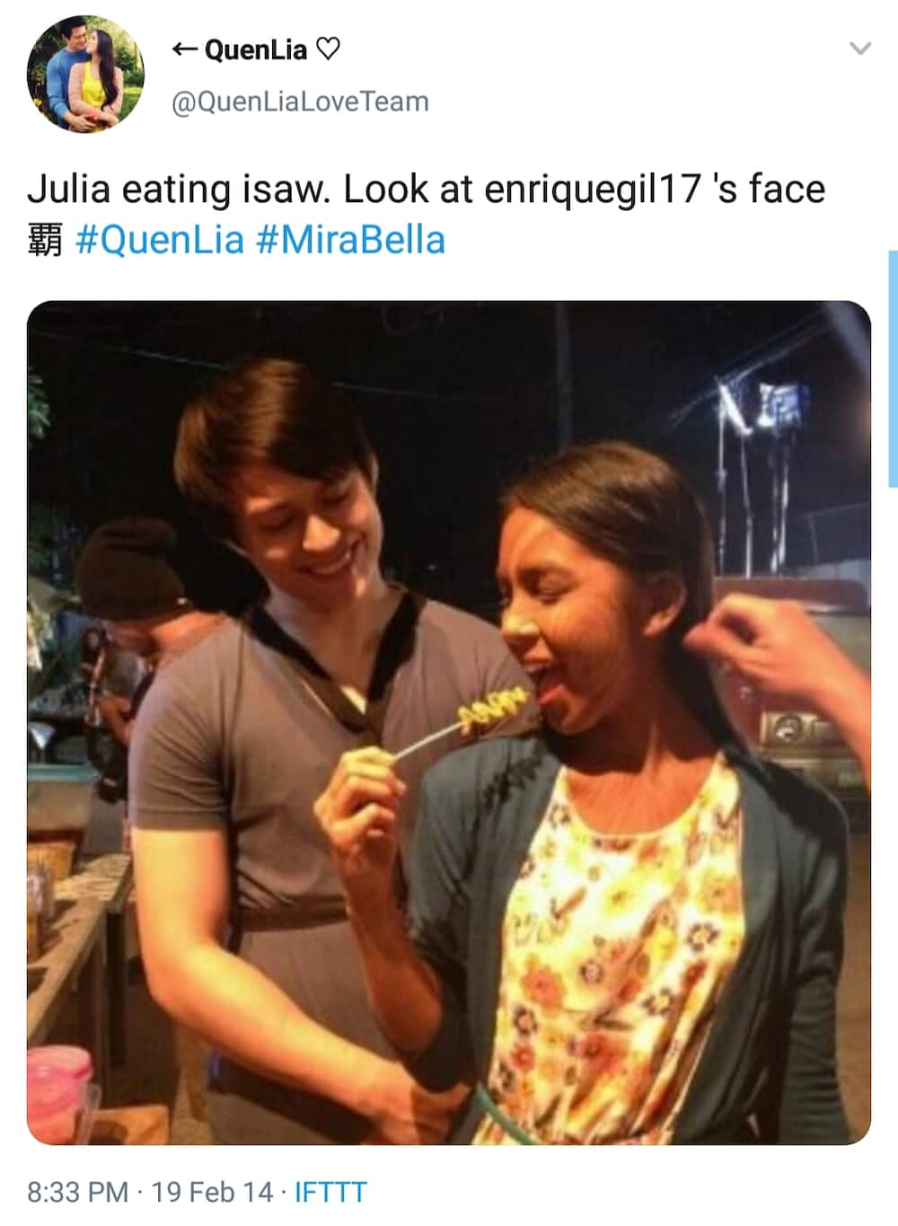 """Video of Julia Barretto eating """"isaw"""" and """"betamax"""" with Enrique Gil on GGV goes viral"""