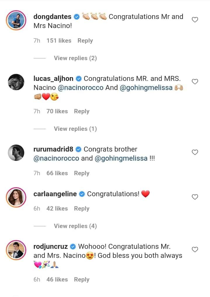Celebrities congratulate newlyweds Rocco Nacino & Melissa Gohing