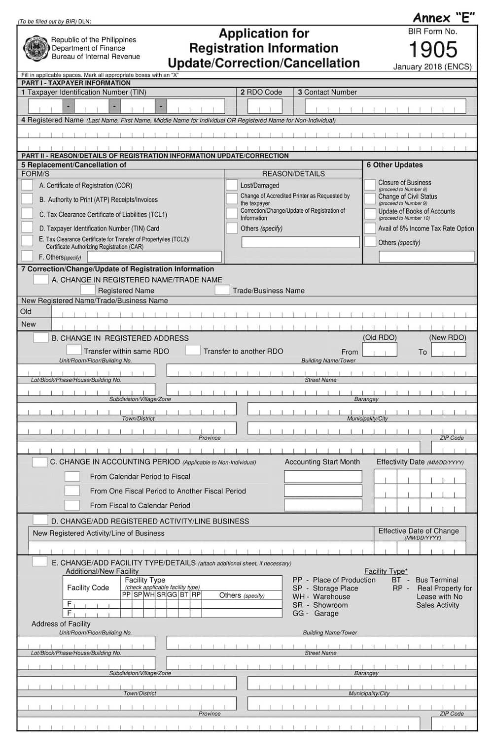 BIR Form 1905