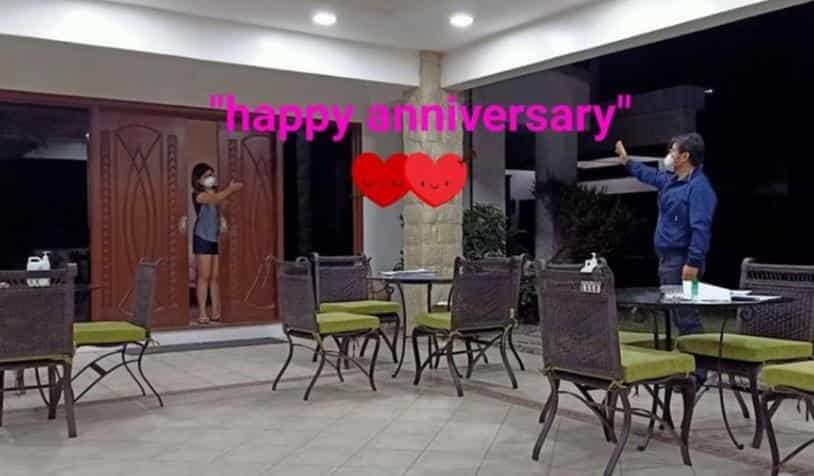 Sen. Bong Revilla at Lani Mercado, hanggang flying kiss lang sa kanilang wedding anniversary