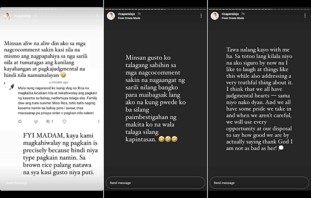 Rica Peralejo, sinupalpal ang netizen na pumuna sa kinakain ng kasambahay nila