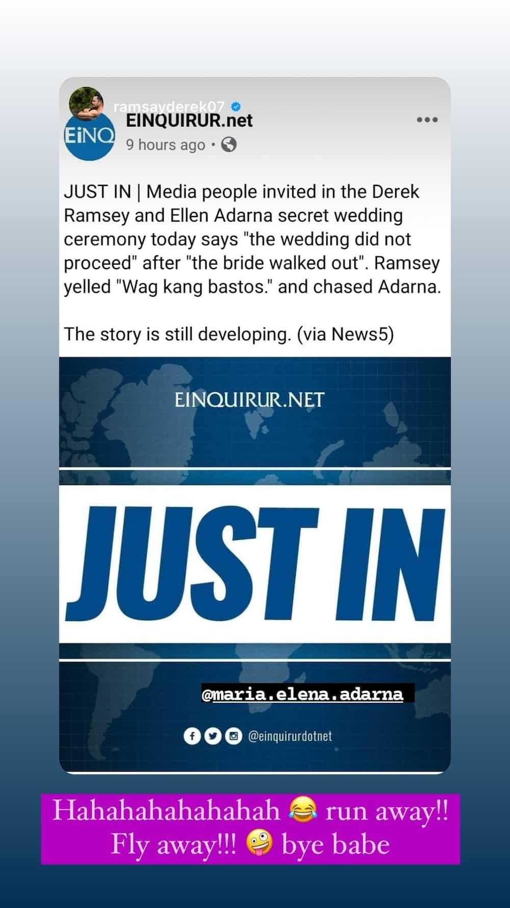 Ellen Adarna, pinagtawanan ang fake news na iniwan niya sa altar si Derek Ramsay