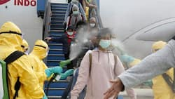 Indonesian officials spray antiseptic to passengers who came from Wuhan, China