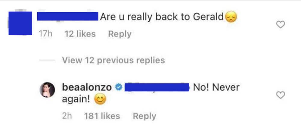 """""""Never!"""" Bea Alonzo categorically answers netizen when asked if she's going back to Gerald Anderson"""