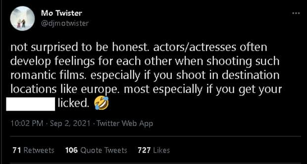 Mo Twister's cryptic tweet about actors and actresses shooting in Europe goes viral