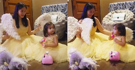 Mariel Padilla and Isabella Padilla both go as angels this Halloween