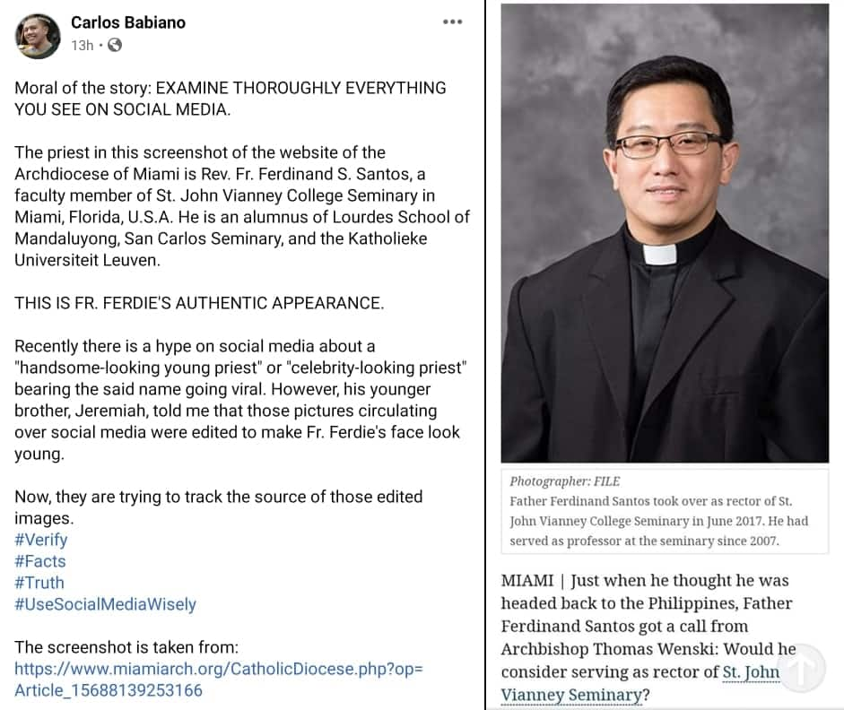 Viral photos ni Fr. Ferdinand Santos, edited daw ayon sa nakababatang kapatid nito