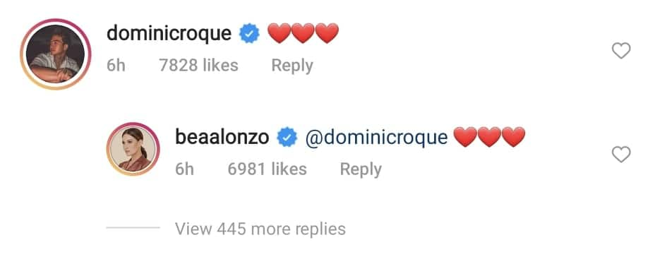 Bea Alonzo, Dominic Roque exchange hearts online; fans gush over interaction