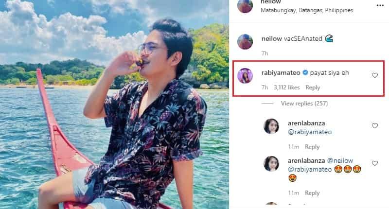 "Rabiya Mateo comments on her boyfriend Neil's new post: ""Payat siya eh"""