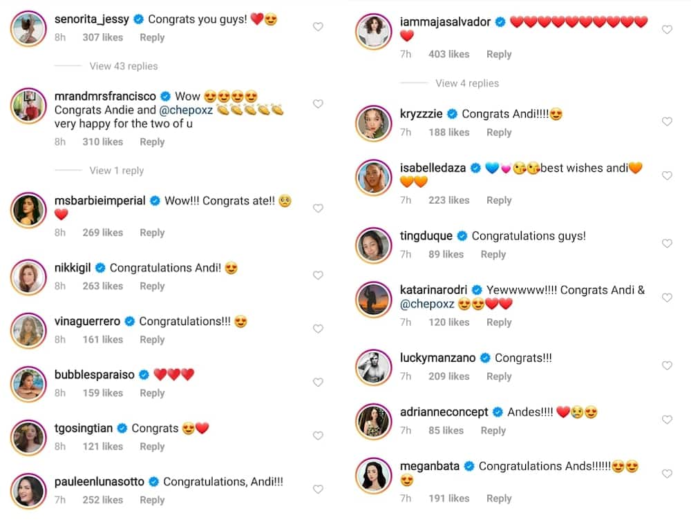 Celebrities react to Andi Eigenmann and Philmar Alipayo's engagement