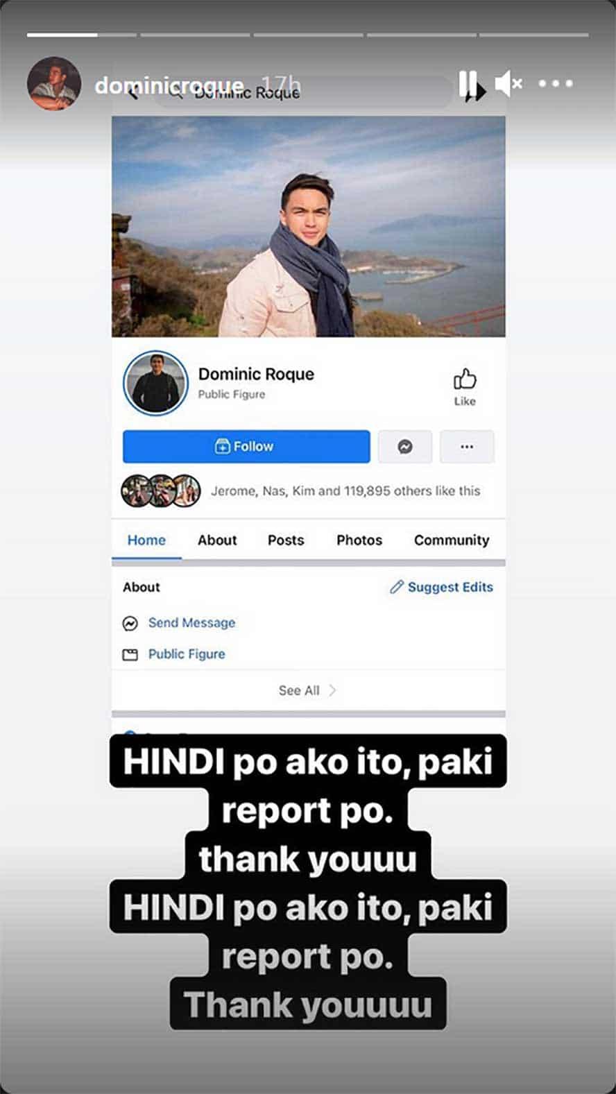 Dominic Roque, winarningan ang mga followers niya tungkol sa isang 'fake account' na nagkukunwaring siya