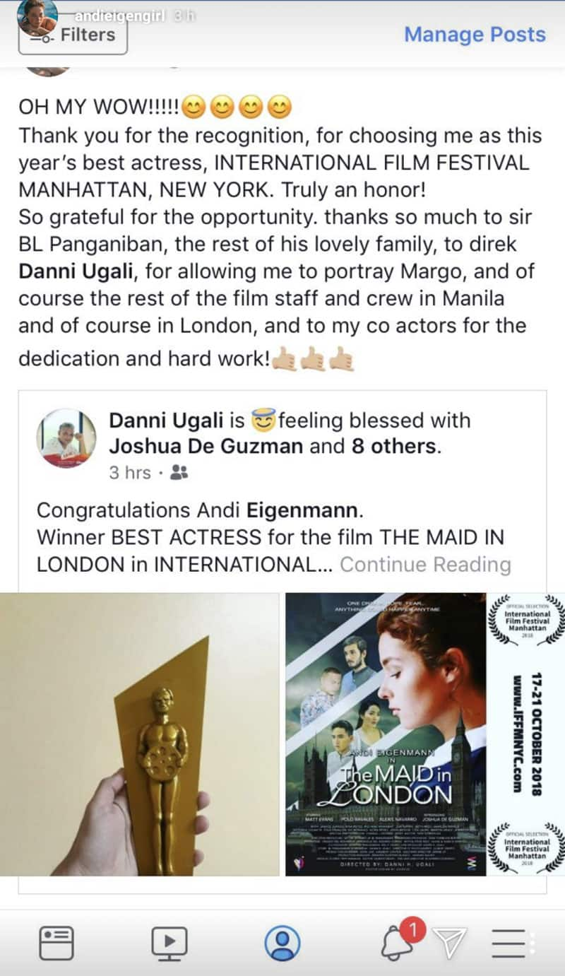 Di kumupas! Andi Eigenmann wagi bilang 'Best Actress' sa International Film Festival Manhattan, New York