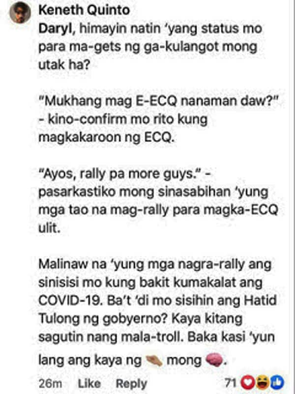 """Daryl Ong engages in word war with netizen who called him """"tanga"""" for his ECQ-rally post"""