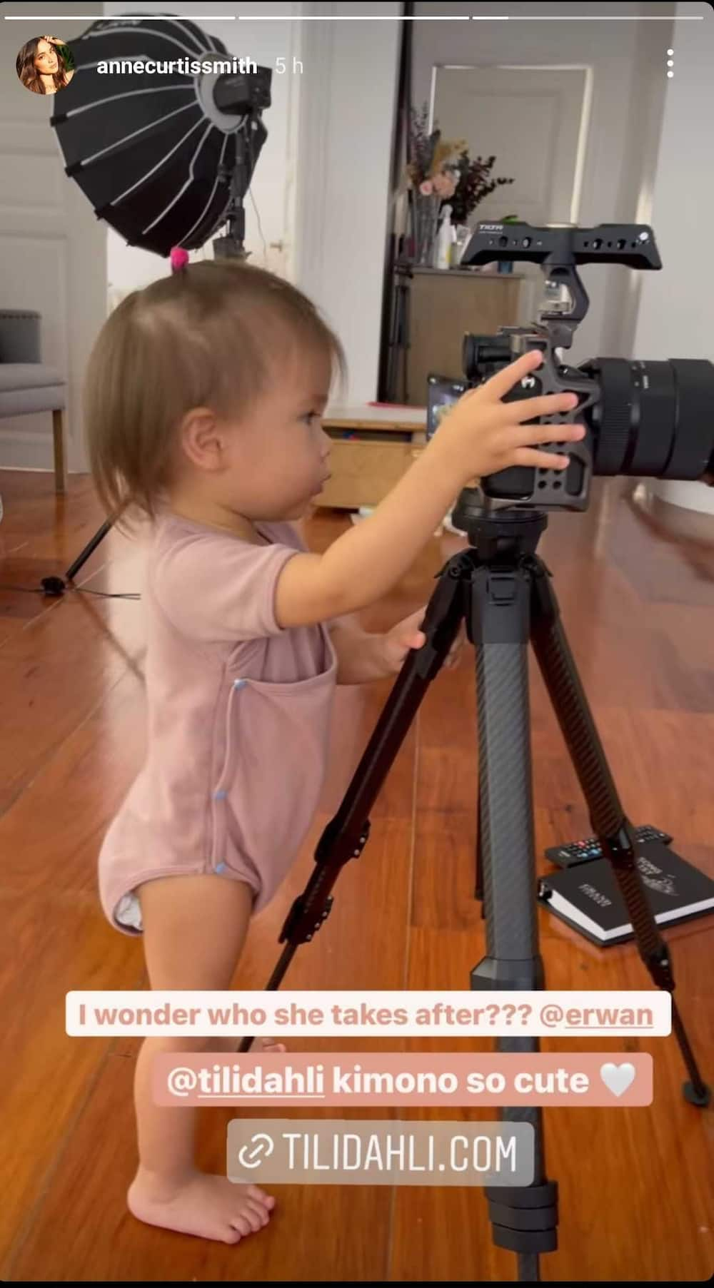 Anne Curtis posts adorable video of Dahlia showing interest in using camera