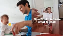 """Video of baby Dahlia showing her dad Erwan Heussaff """"what to cook"""" goes viral"""