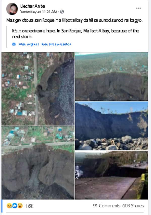 Massive hole appears in Albay after typhoon, safety becomes main concern