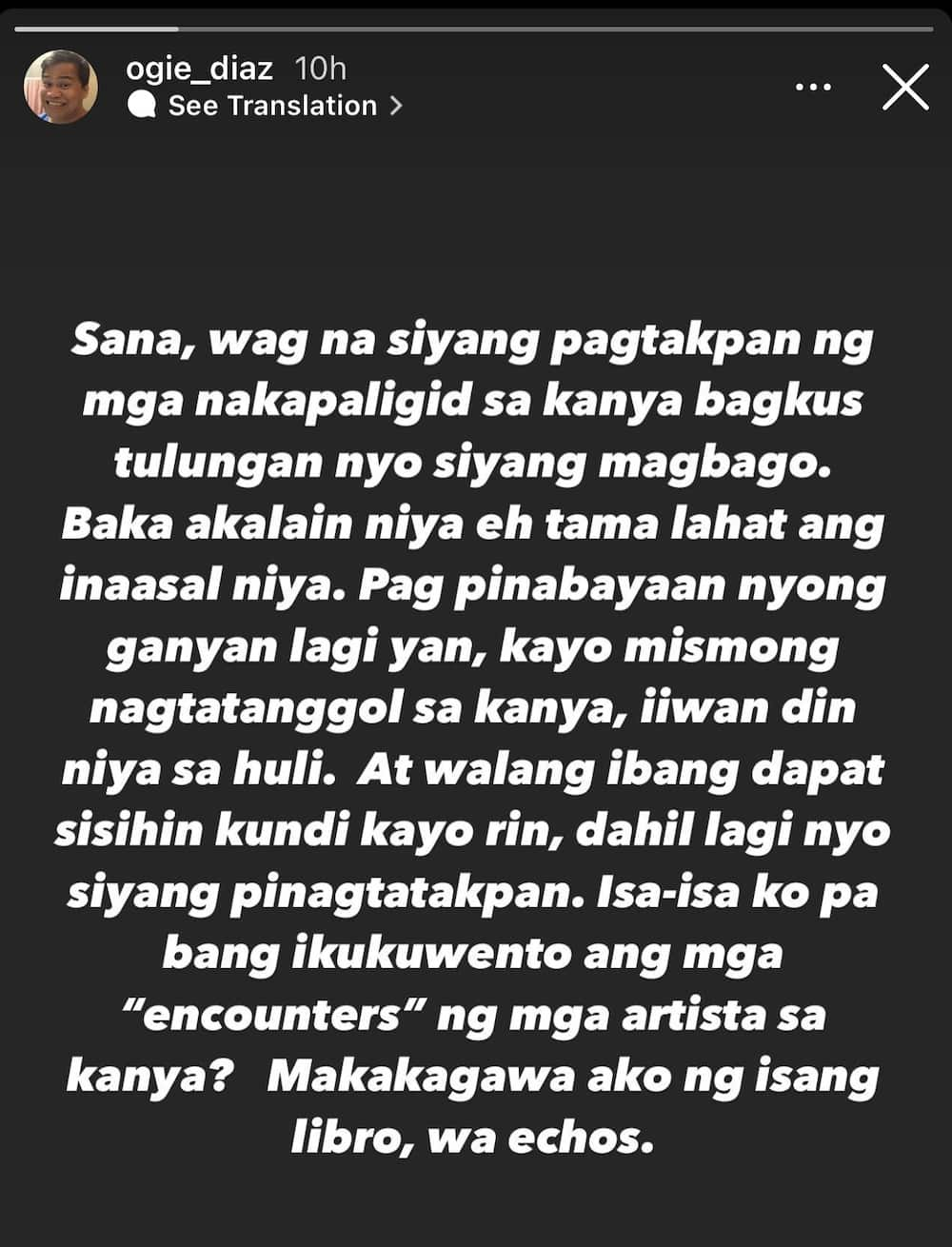 """Ogie Diaz's cryptic post on people """"covering up"""" for a personality goes viral"""