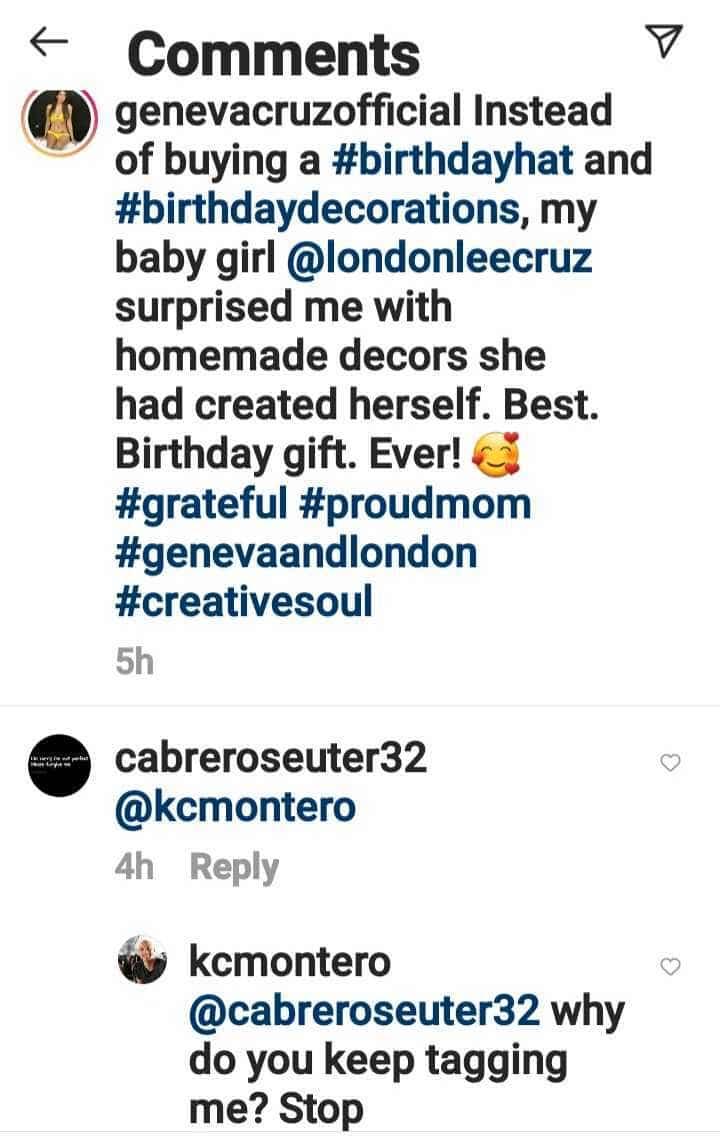 KC Montero, nainis sa pag-tag sa kanya ng netizen sa post ni Geneva Cruz