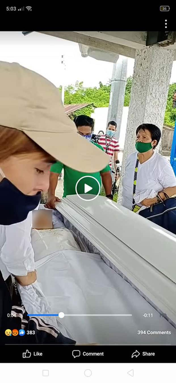 Photo of woman with creepy resemblance to Jang Lucero looking at her casket during burial goes viral
