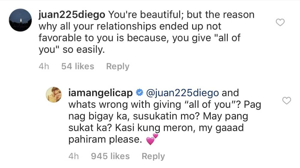 Angelica Panganiban claps back at netizen commenting about her past relationships