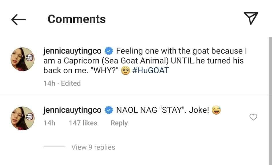 "Jennica Garcia cracks joke about people who stay; posts ""#huGOAT"" photo"