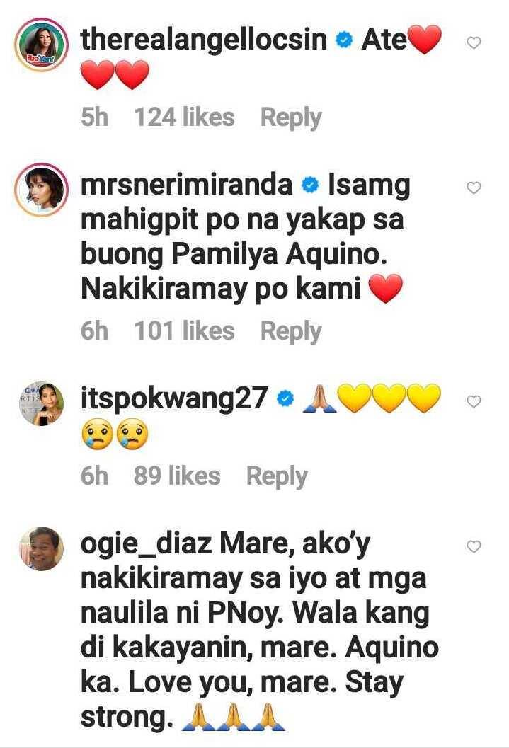 """Celebs, nag-react sa latest post ni Kris Aquino tungkol Noynoy: """"Wala kang di kakayanin"""""""