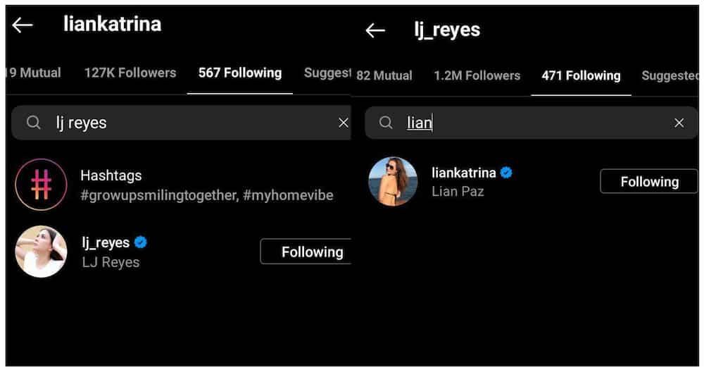 LJ Reyes at Lian Paz, naka-follow sa isa't-isa sa Instagram