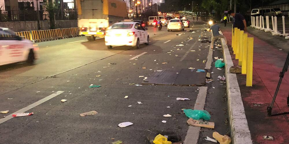 EDSA littered with trash mostly PPEs, disposable face masks and gloves