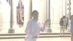 Ai-Ai delas Alas dances in front of the Urban Light of Los Angeles County Museum of Art