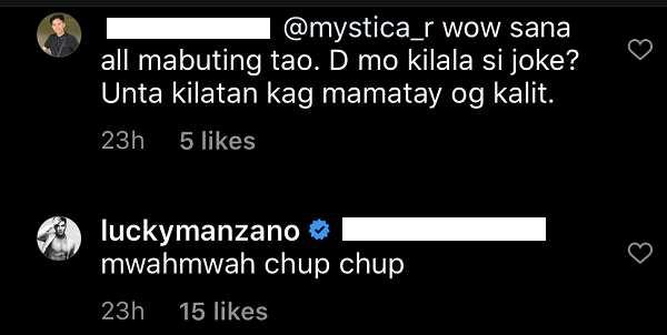 Luis Manzano, sinupalpal ang netizen na nagkometo sa post ni Jessy Mendiola